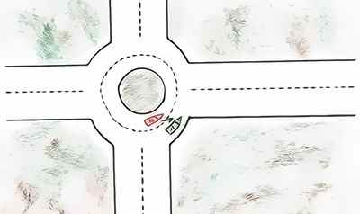 changer bandes rond=point accident